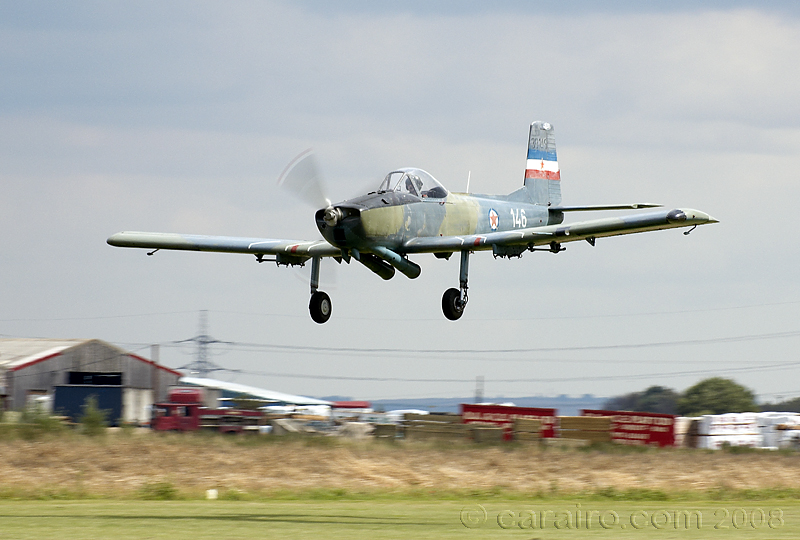 Notice the large exhausts on this former Yugoslavian Air Force Soko P-2 Kraguj