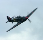 Hurricane flies over the airfield