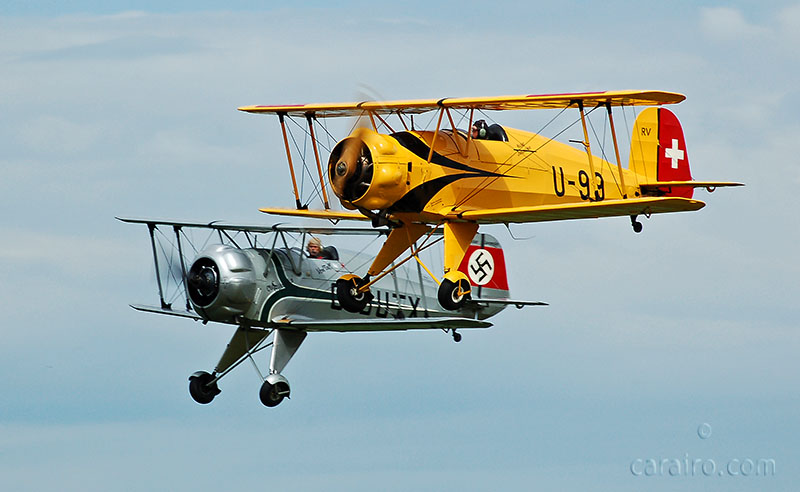 The two resident Bücker Jungmeisters