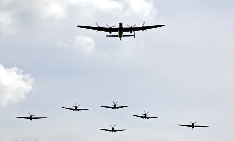 The Lancaster with Spitfires and Hurricanes following in formation - an impressive sight (& sound!)