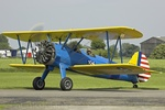 Stearman taxiing to refuel