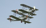 The Hawker Tomtit and Avro Tutor flew in close formation during one of the sunny spells