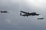 BBMF Lancaster PA474, Spitfire and Hurricane performing a flypast