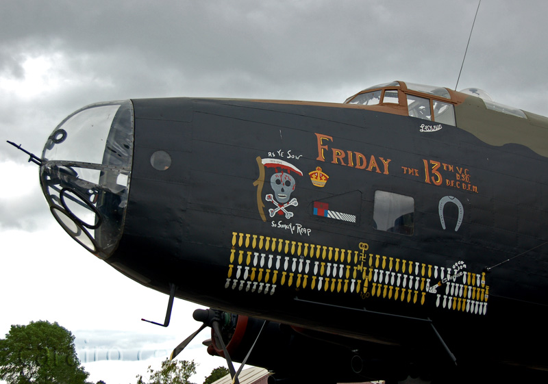 "Halifax Nose - Port side showing the ""Friday the 13th"" Artwork"