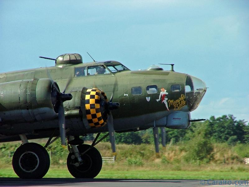 """B-17 Flying Fortress """"Sally B"""" showing the Memphis Belle noseart from her starring role in the film"""