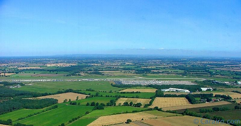 Elvington Airfield from the air with the Yorkshire air museum on the right.