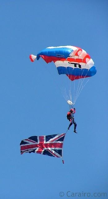 "An RAF Falcon team member ""flying the flag""!"