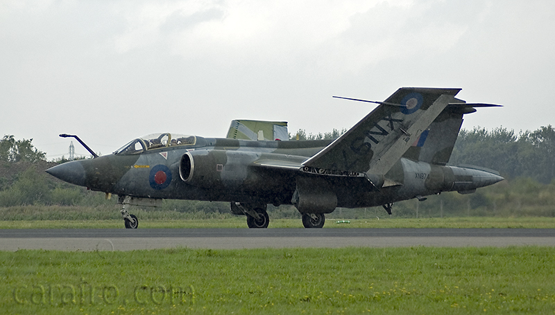 The Yorkshire Air Museum's Buccaneer did a taxi run and wing folding demonstration  -  the weather did not co-operate and there was a heavy shower during this.