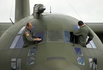 Window cleaning on the RAF Falcons' Hercules