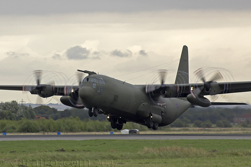 Hercules takes off with the RAF Falcons onboard